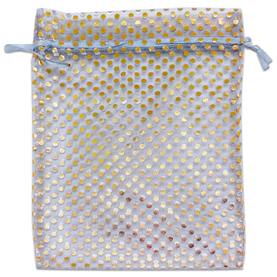 "6"" x 8"" Silver and Gold Polka Dot Organza Drawstring Pouch Gift Bags"