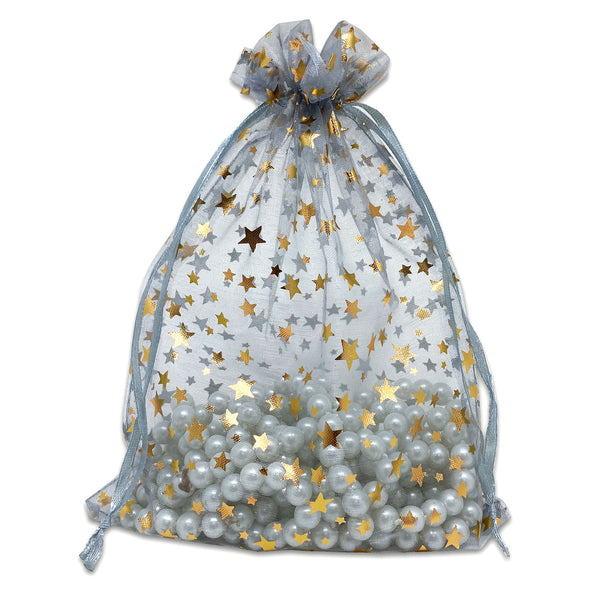 "6"" x 8"" Silver with Gold Star Organza Drawstring Pouch Gift Bags"