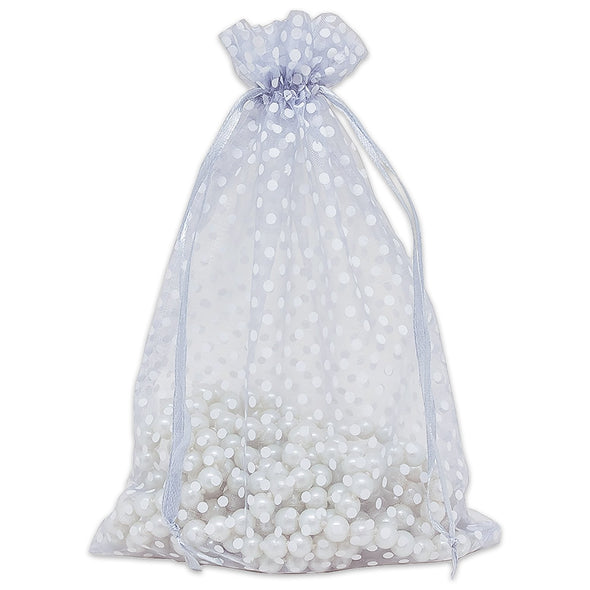 Silver with White Polka Dot Organza Drawstring Pouch Gift Bags