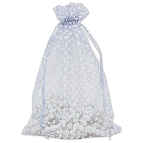 "6"" x 8"" Silver with White Polka Dot Organza Drawstring Pouch Gift Bags"
