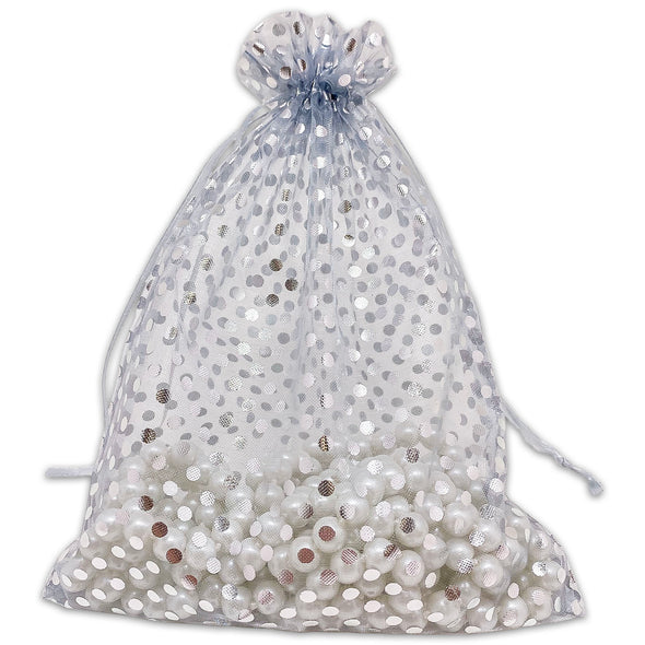 "6"" x 8"" Silver with Silver Polka Dot Organza Drawstring Pouch Gift Bags"