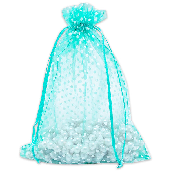 "6"" x 8"" Teal with White Polka Dot Organza Drawstring Pouch Gift Bags"