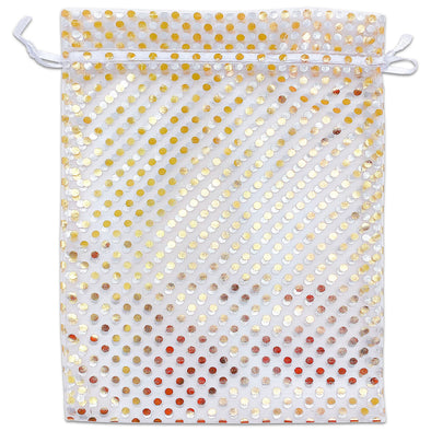 "6"" x 8"" White and Gold Polka Dot Organza Drawstring Pouch Gift Bags"