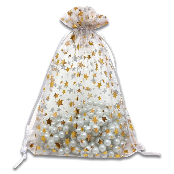 "6"" x 8"" White with Gold Star Organza Drawstring Pouch Gift Bags"