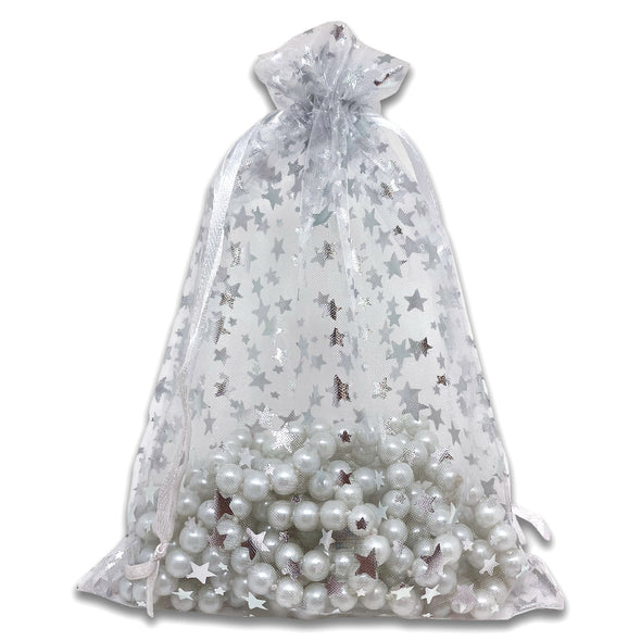 "6"" x 8"" White with Silver Star Organza Drawstring Pouch Gift Bags"
