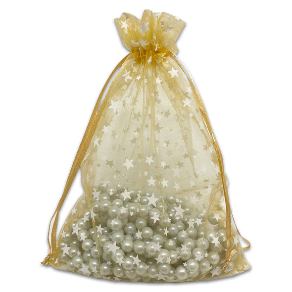 "6"" x 8"" Gold with White Star Organza Drawstring Pouch Gift Bags"