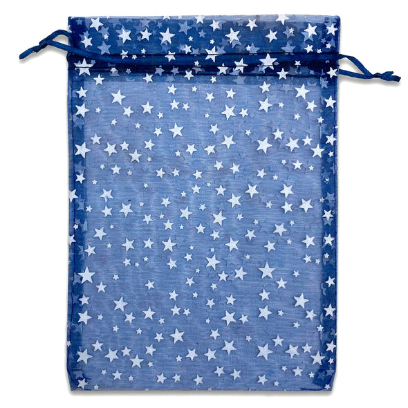 "6"" x 8"" Navy with White Star Organza Drawstring Pouch Gift Bags"