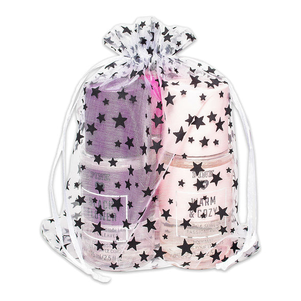 "6"" x 8"" White with Black Star Organza Drawstring Pouch Gift Bags"
