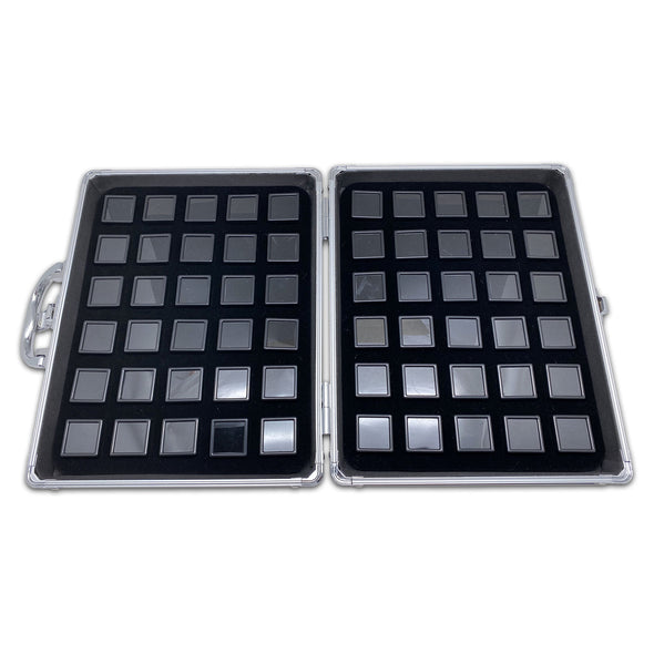 60 Black Gem Boxes with Aluminum Display Case