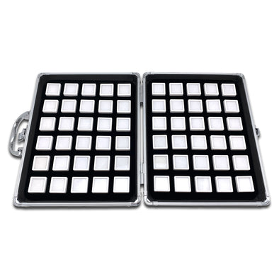 60 White Gem Boxes with Aluminum Display Case