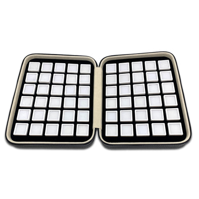 60 White Gem Boxes with Black Leatherette Display Case
