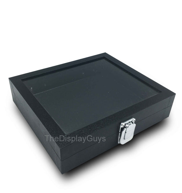 1/2 Size Black Glass Top Wooden Jewelry Case
