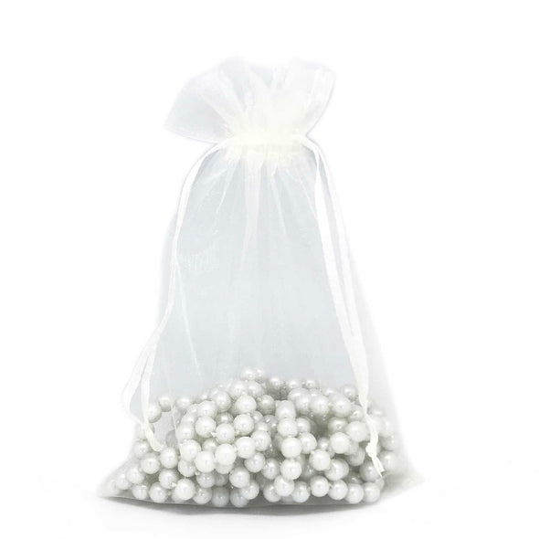"6""x8"" Cream Color Organza Drawstring Pouches"