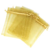 "6""x8"" Gold Color Organza Drawstring Pouches"