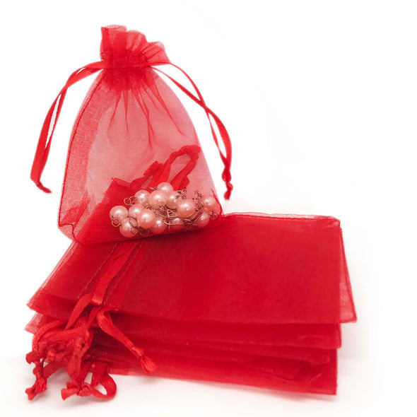 "6""x8"" Red Organza Drawstring Pouches"