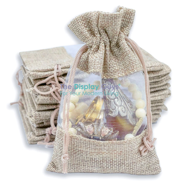 "7 1/2"" x 11 1/2"" Linen Burlap and Sheer Organza Gift Bag"
