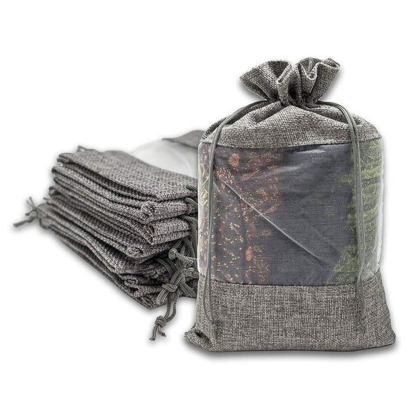 "7 1/2"" x 11 1/2"" Linen Burlap and Sheer Organza Gray Gift Bag"