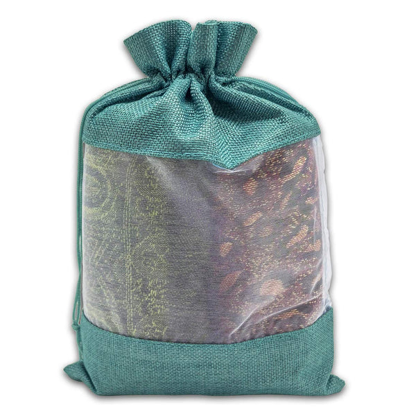 "7 1/2"" x 11 1/2"" Linen Burlap and Sheer Organza Teal Blue Gift Bag"