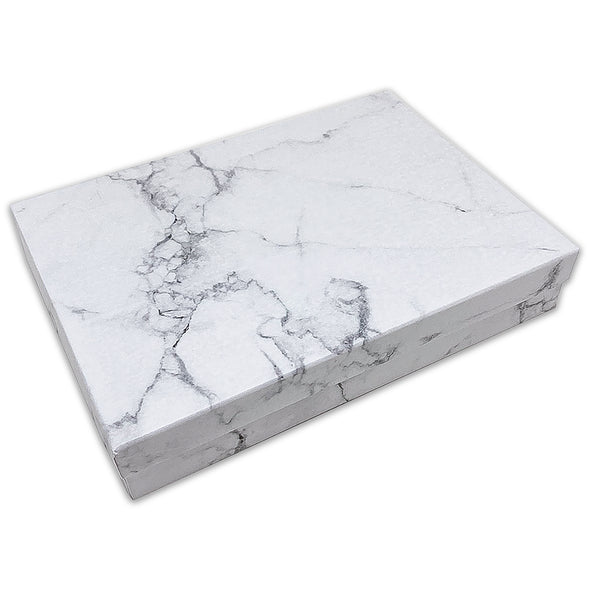 "7 1/8"" x 5 1/8"" Marble White Cotton Filled Paper Box"