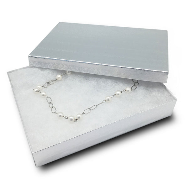 "7 1/8""Wx5 1/8""Dx1 1/8""H Silver Cotton Box"