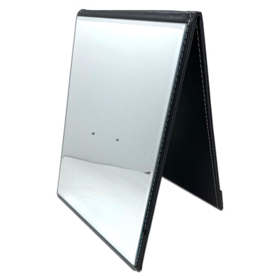 "7"" x 10"" Black Leatherette Folding Mirror"