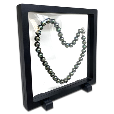 "7"" x 7"" Black Floating Frame Jewelry Display Case"