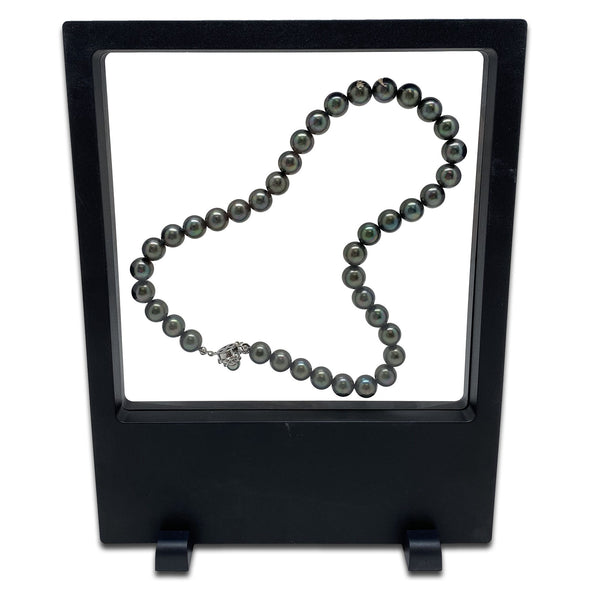 "7"" x 9"" Black Floating Frame Jewelry Display Case"
