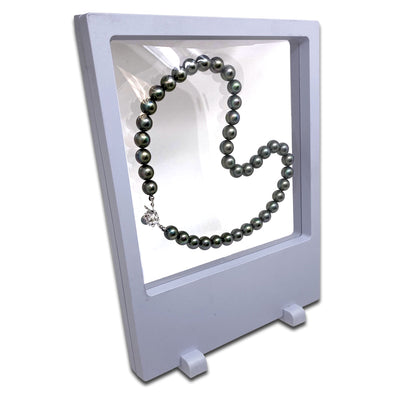 "7"" x 9"" White Floating Frame Jewelry Display Case"