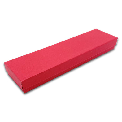 "8 1/16"" x 2 1/4"" x 1 3/8"" Matte Red Cotton Filled Box"