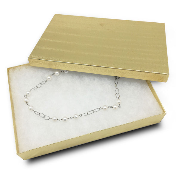 "8 1/8""x5 5/8""x1 3/8"" Gold Cotton Filled Paper Box"