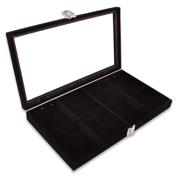 "14 3/4"" x 8 1/4"" 8 Compartment Black Velvet Display Case w/ Glass Top and Key"