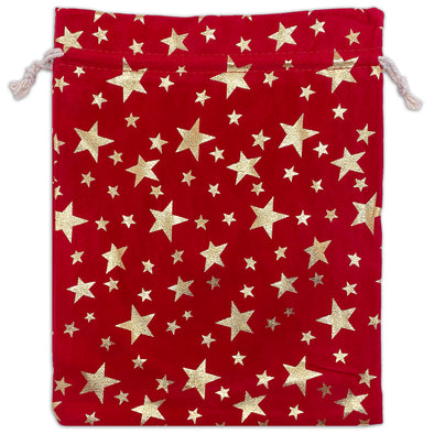 "8"" x 10"" Red Velvet Gold Star Christmas Drawstring Gift Bags"