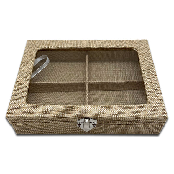 "8"" x 6"" Beige Burlap 4 Compartment Display Case w/ Glass Top"
