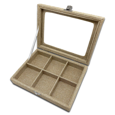 "8"" x 6"" Beige Burlap 6 Compartment Display Case w/ Glass Top"