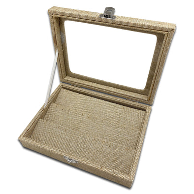 "8"" x 6"" Beige Burlap Display Case w/ Glass Top for 18 Pairs of Earrings"