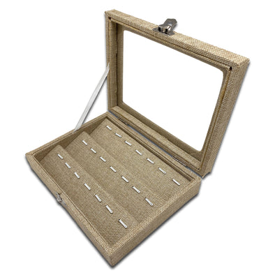 "8"" x 6"" Beige Burlap Display Case w/ Glass Top for 21 Pendants/Charms"