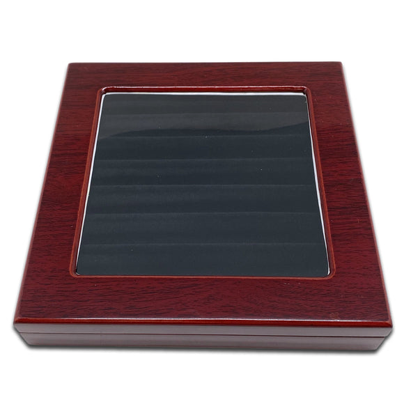 "8"" x 8"" Rosewood Ring Display Case with 8 Roll Black Velvet Insert"