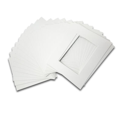 "Pack of 25 Pre-Cut 8""x10"" White Picture Mat Boards"