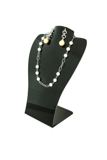 Black Acrylic Single Necklace and Earring Jewelry Display
