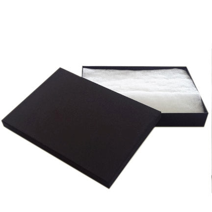 "8 x 5 x 1 1/4""H Black Cotton Filled Paper Box"