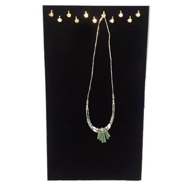 Black Velvet Necklace Display Pad with 11 Hooks