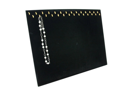 Black Velvet Jewelry Display Pad with 28 Hooks