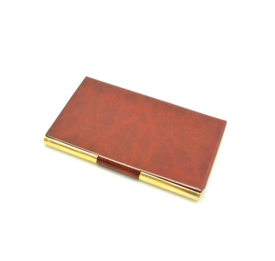 12 Pack Gold and Brown Business Card Holder