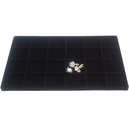 24 Compartments Black Flocked Tray Insert