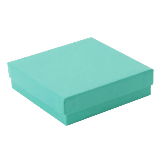 "3 1/2""Wx 3 1/2""D X 1""H Teal Cotton Filled Paper Box"
