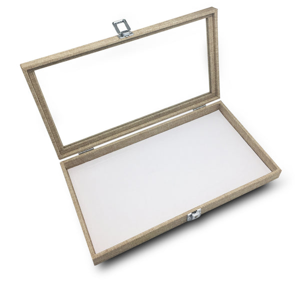 "14 3/4""x8 1/4""x1 3/4""H Linen Display Case w/ Glass Top"