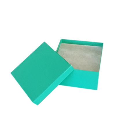 "3 3/4""Wx 3 3/4""Dx2""H Teal Cotton Paper Box"