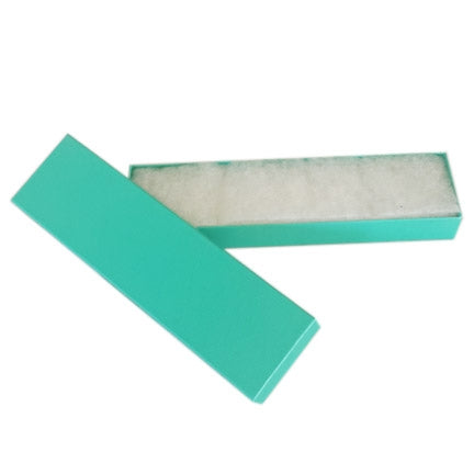 "8""x 2""x 1"" H Teal Green Paper Bracelet Box"