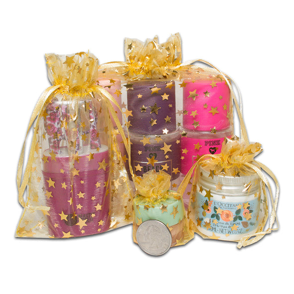 "4"" x 6"" Gold with Gold Star Organza Drawstring Pouch Gift Bags"