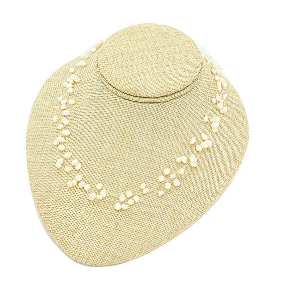"4""H Flat Round Lay Down Beige Burlap Necklace Jewelry Display"